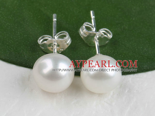 8-8.5 mm pure white fresh water pearl studs