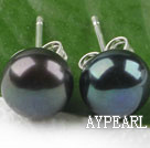 Popular 8-8.5Mm Black Freshwater Pearl Ear Studs