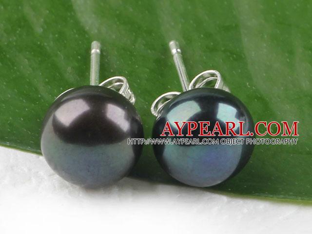 Popular 8-8.5Mm Black Freshwater Pearl Ear Studs