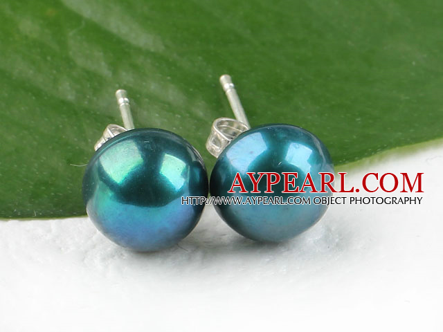 seaable 8-8.5mm dyed blue natural fresh water pearl studs