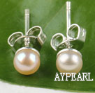 Wholesale 4-4.5mm cultured natural pink fresh water pearl studs