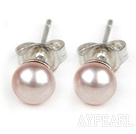 3-4 mm fresh water natural pink pearl studs