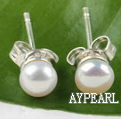 Wholesale decent 4-4.5mm natural white fresh water pearl studs