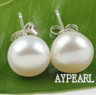 9.5-10mm white fresh water pearl studs