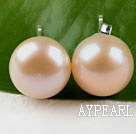 Wholesale hot 11.5-12mm natural pink pearl studs
