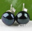 Wholesale 8-8.5 mm black pearl stud