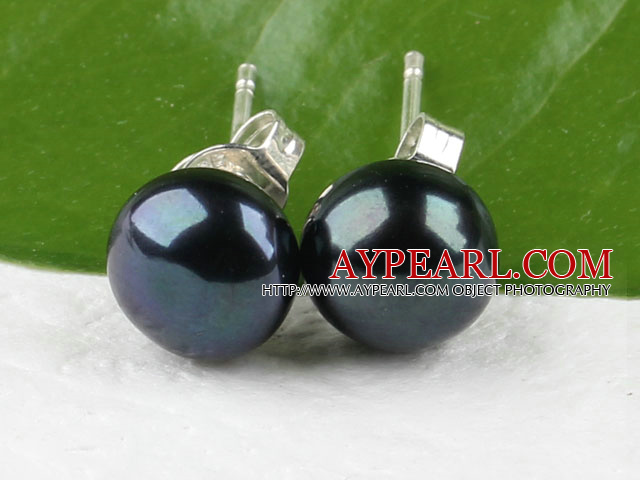 Fashion 8-8.5Mm Natural Black Freshwater Pearl Ear Studs