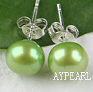 8-8.5 mm green fresh water pearl studs