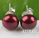 Fashion 7-8Mm Round Purplish Red Freshwater Pearl Studs
