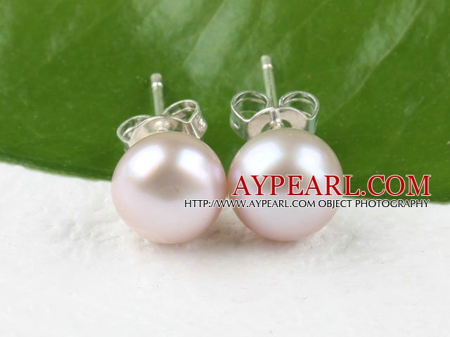 Nice Simple Style Sellable 8-8.5 Mm Purple Freshwater Pearl Studs Earrings