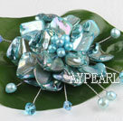Wholesale wedding jewelry admirably blue pearl and shell flower brooch