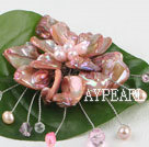 Wholesale wedding jewelry admirably pink pearl and shell flower brooch