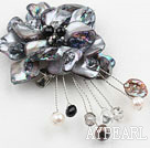 Wholesale admirably black pearl and shell flower brooch