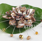 Wholesale wedding jewelry admirably brown pearl and shell flower brooch