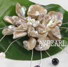 wonderful white pearl and shell flower brooch