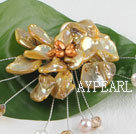 Wholesale wonderful brown pearl and shell flower brooch