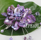 wedding jewelry admirably purple pearl and shell flower brooch