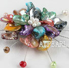 Wholesale wedding jewelry admirably colorful pearl and shell flower brooch