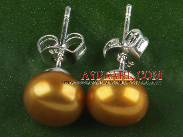 Classic 8-8.5Mm Natural Dyed Yellow Freshwater Pearl Studs Earrings