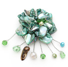 Wholesale wedding jewelry admirably green pearl and shell flower brooch