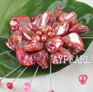 Wholesale wedding jewelry admirably red pearl and shell flower brooch
