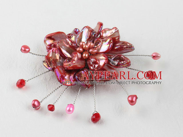 wedding jewelry admirably red pearl and shell flower brooch