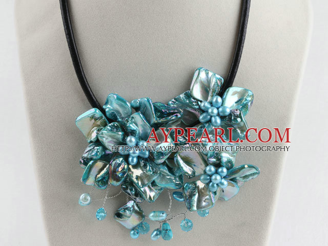 beautiful 17.7 inches blue pearl and shell flower necklace