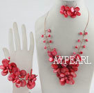 bridal jewelry red pearl and shell necklace bracelet and earrings set