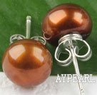 sellable 8-8.5 mm brown fresh water pearl studs