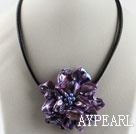 17.7 inches purple shell flower pearl necklace with magnetic clasp