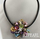 17.7 inches colorful shell flower pearl necklace with magnetic clasp