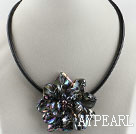 17.7 inches black shell flower pearl necklace with magnetic clasp