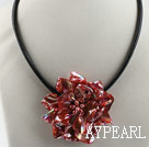 17.7 inches red shell flower pearl necklace with magnetic clasp