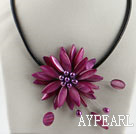 17.7 inches purple red shell flower pearl necklace with magnetic clasp