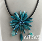 17.7 inches lake blue shell flower pearl necklace with magnetic clasp