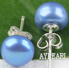 sellable 8-8.5 mm dyed blue fresh water pearl studs