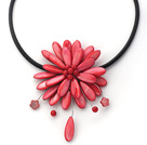 Discount 17.7 inches watermelon red shell flower necklace with magnetic clasp