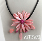 Discount 17.7 inches light pink shell flower necklace with magnetic clasp