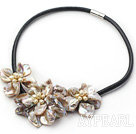 pearl and dyed gray shell flower necklace with magnetic clasp