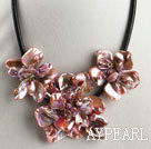 Discount pearl and dyed pink shell flower necklace with magnetic clasp