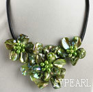 Discount pearl and dyed green shell flower necklace with magnetic clasp