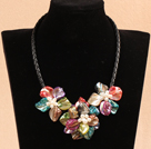 multi color dyed pearl shell flower necklace with magnetic clasp