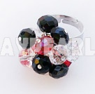 Fashion Red White And Black Crystal Cluster Ring With Adjustable Metal