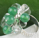 Wholesale white crystal and aventurine ring