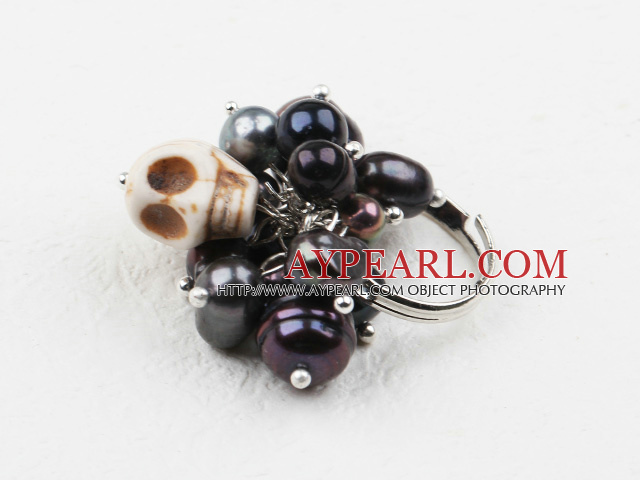 Classic Design Assorted Black Pearl and Turquoise Skull Adjustable Ring