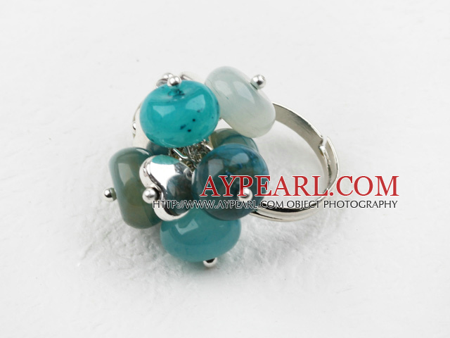 Classic Design Assorted Blue Jade Adjustable Ring
