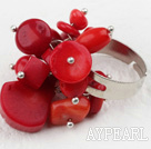 Classic Design Assortert Red Coral Justerbar ring