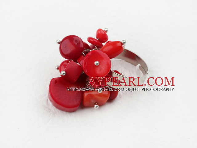 Classic Design Assorted Red Coral Adjustable Ring