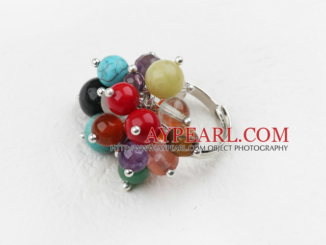 Classic Design Assorted Multi Stone and Crystal Adjustable Ring