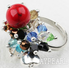 Classic Design Assorted Multi Color Crystal ja Alaqueca Säädettävä Ring